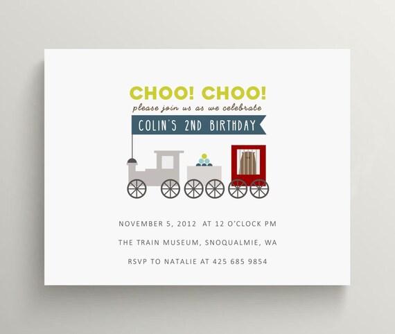 train birthday invitation set  // baby shower invitation  //  locomotive  //  railroad // choo choo train // train invitation // circus