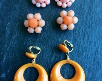 Vintage Orange Earrings -1950s plastic