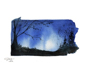 Pennsylvania, print from original watercolor illustration by Jessica Durrant from Painting the 50 States Project