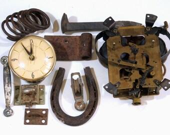 Vintage Metal Industrial Salvage, Rusty Vintage Junk, Clock Parts,Spring , Horseshoe