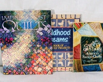 Quilting Books, Softback Lot of 3, Childhood Dreams, Impressionist Quilts, A Galaxy Of Stars