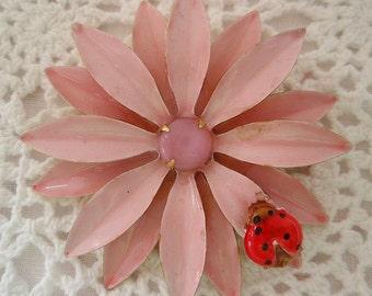 Vintage Pink Daisy Lady Bug Metal PIN  1960s Original by Robert Mod Flower Power Pink Satin Center Stone