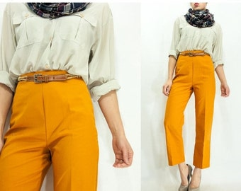 50% OFF SALE... Vintage 70's GOLDENROD Mustard Brown Ultra High Waisted Pants Yellow Trousers / Cropped Bell Bottoms Pants / Hip Hugger Flar