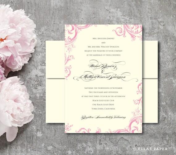 Pink Flower Wedding Invitation - Flora