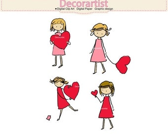 ON SALE _ Digital Doodle Girl Clipart Clip Art - Girl with heart Clipart, Valentines day Clipart, cartoon draw clipart