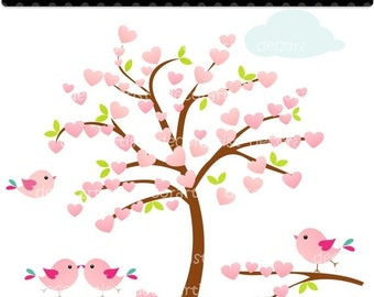 ON SALE Tree clipart, Heart tree and birds, tree, flowers, birds, INSTANT Download clipart