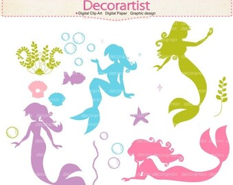 Mermaids Clip Art _ No.3, Bubbles, Silhouette digital Clipart for all use, INSTANT Download, ON SALE