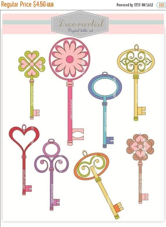 ON SALE clipart, keys clip art,supplies, scrapbooking, paper , Digital clip art, invitation, announcment, new home invitation party, celebra