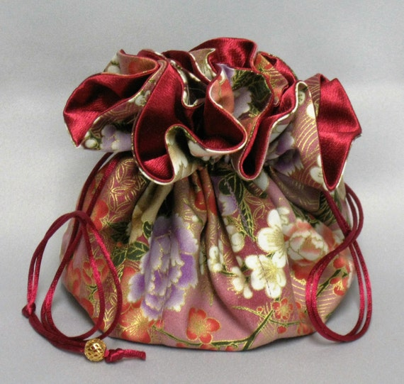 Jewelry Tote---Drawstring Organizer Travel Pouch---Burgundy Floral Design---Large Size