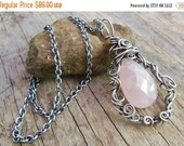 Clearance Rose Quartz Necklace- Sterling Silver Necklace- Wire wrap jewelry- Faceted Pink Gemstone Jewelry