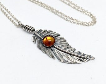 Amber Feather Necklace, Sterling Silver Feather, Western Jewelry for women, Western necklace, Boho Style Pendant