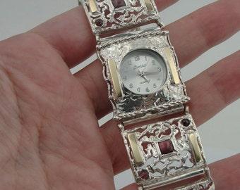 SALE, Silver Watch,  Handmade Yellow Gold 925 Silver Filigree Garnet Bracelet Watch, Sterling Silver Watch, Israel Jewelry, Garnet  Bracelet