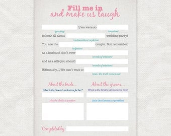 make us laugh wedding reception game - printable file - bridal shower game printable party instant download funny wedding mad lib fun quiz