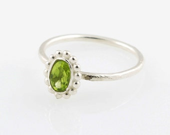 925 sterling silver Beautiful delicate Natural Peridot ring, Stackable Ring, stacking, august birthstone, birthstone rings