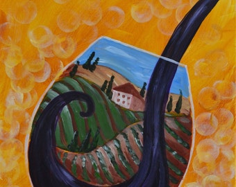 TUSCANY WINE-16 x 20 Acrylic on canvas