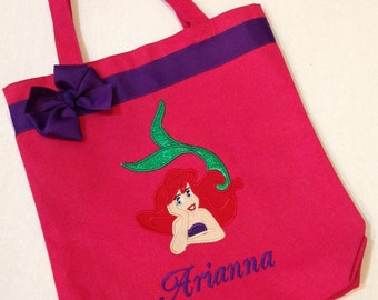 Personalized Tote Bag, Personalized Tote, Ariel Tote Bag, Little Mermaid Tote, Mermaid Gift, Personalized Little Mermaid, Ariel gift