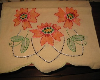 Vintage Stencilled and Embroidered Runner- Poinsettias, Red Flowers