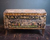 Primitive Blanket Chest Trunk / Antique Folk Art Chest / Hand Painted Paper Mache Trunk