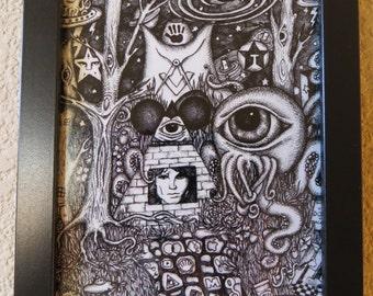 Doors of Perception Pointillism Framed Print of Conspiracy Art Pen & Ink by Kelly Green HBaum