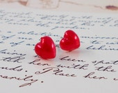 Puffy  Classic Red Heart Earrings