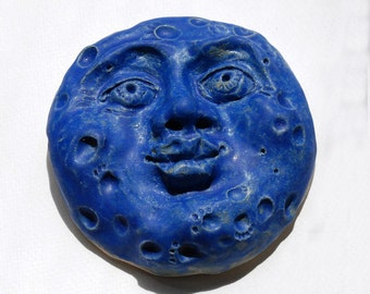 Blue Moon Face, Nursery wall art, wall sculpture, ceramic clay moon, Hand sculpted clay, blue moon, garden art, home decor, celestial art