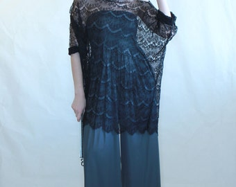 New Lace tunic, roomy tunic, black lace top, women top, formal tunic, open shoulder tunic,
