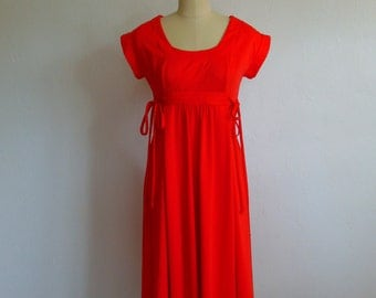 70s Toni Todd Hot Tomato scoop neck day dress size small