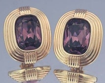 Vintage SWAROVSKI Purple Earrings / Swarovski Earrings / Swarovski Crystal Earrings /Swarovski Button Earrings / Swarovski Jewelry