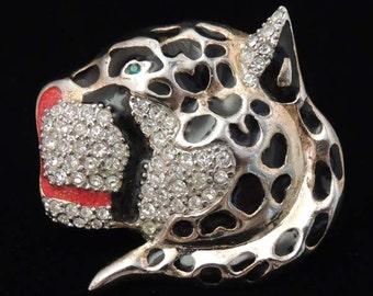 Vintage Rhinestone Leopard Brooch / Rhinestone and Enamel Leopard Head Brooch / Rhinestone Cat Brooch / Rhinestone Cat Pin