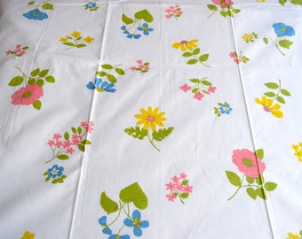 Vintage Bed Sheet - Wamsutta Pink and Yellow Flowers - NOS All Cotton Twin Flat