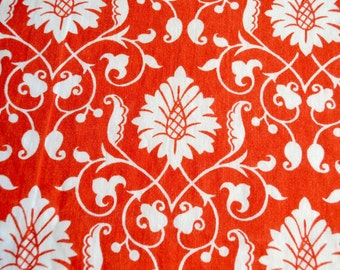 Vintage Fabric - Orange and White Bohemian Print - 51 x 44 Cotton