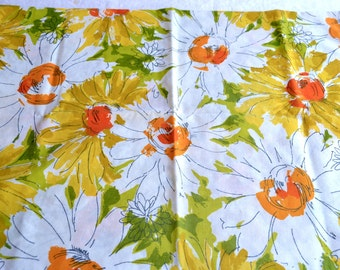 Vintage Pillowcase - Large Daisy Print in Orange and Yellow - Standard Size