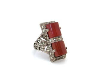 1930s Art Deco Ring | Sterling Silver, Carnelian Glass, Marcasite | Vintage Art Deco Jewelry