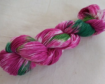 Fireweed Hand-Painted Superwash Merino and Nylon Blend Fingering Weight Sock Yarn -- Bright Pink, White, and Green