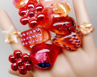 Vintage Lucite Murano Art Glass  Rings Domed Confetti Fruit Salad Rhinestones Valentine Reds Orange Flowers Mid Century 12 Rings Retro Lot