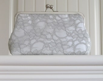 Bridal Silk And Lace Clutch,Bridal Accessories,Wedding Clutch,Bridal Clutch,Bridesmaid Clutches,Grey Mist Lace