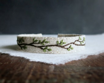 Rustic Woodland Fabric Cuff Bracelet - Embroidered Rustic Branch on Natural Linen Cuff Bracelet