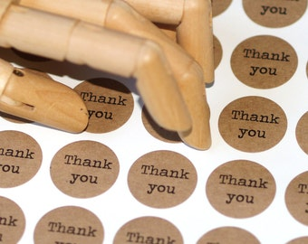 Thank You Stickers ... Kraft Stickers One Inch Grocery Bag Brown Typewriter Self Adhesive Etsy Seller Supplies Wedding Favors Envelope Seals