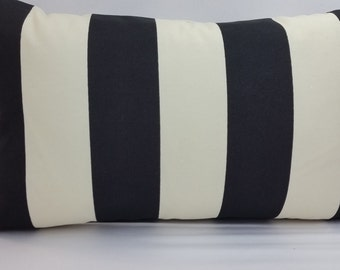"""RTS, outdoor polyester stripe pillow, Black and cream, 20 x 12"""" throw pillow with insert, 3"""" vertical stripes"""