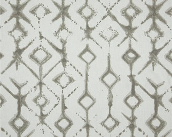 """Fabric shower curtain, Tribal ecru, taupe, cotton print, 72"""", 84"""", 90"""", 96"""", 108"""" custom sizes available"""