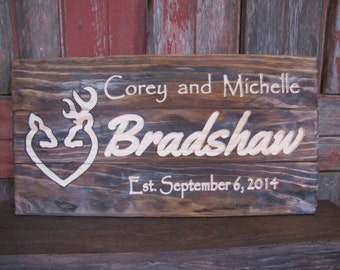 On SALE!! Personalized Wedding Gift Distressed Weathered look Wood Signs Family Last Name Sign Browning CARVED Wooden Couples Plaque Custom