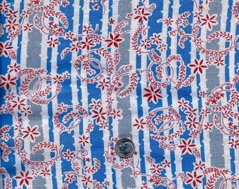 Vintage FEEDSACK Flour Sack Quilting Cotton Fabric - Pretty Red, white & blue Tiny Flowers  - 36 x 52