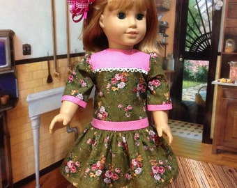 "On SALE this week 1950's   Cute "" Roses and Dots"" dropped waist dress fits American Girl or similar sized 18 inch dolls"