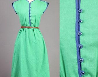 vintage LANZ secretary PIPING linen KELLY green blue button midi boho dress 1980s 80s medium M