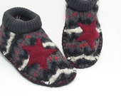 Mens slippers upcyled wool with star