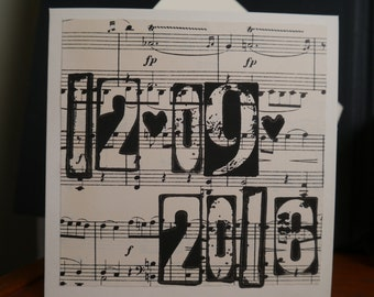 Save The Date Card Handprinted on Vintage Sheet Music