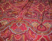 Vintage Paisley Rayon Fabric - Red, Gold, Garnet - Dynasty Prints - Hippie, Boho - Sewing, Yardage
