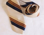Vintage1960s Damon polyester striped brown, blue and tan mens necktie