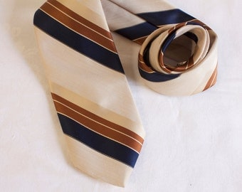 Vintage 1960s Mens Necktie Damon polyester striped brown, blue and tan