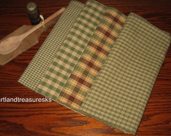 Shabby Chic Sage Green Tea Dye Dunroven House Dishtowels Set of 4 Plaids